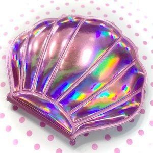 Kawaii Pink Holographic Sea Shell Mirror Compact
